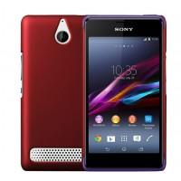 Пластиковый матовый непрозрачный чехол для Sony Xperia E1 Красный