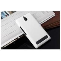 Пластиковый матовый непрозрачный чехол для Sony Xperia E1 Белый