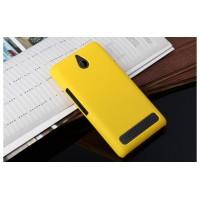 Пластиковый матовый непрозрачный чехол для Sony Xperia E1 Желтый