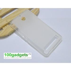 Силиконовый матовый полупрозрачный чехол для Sony Xperia E1 Белый