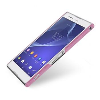 Кожаный чехол накладка серия Back Cover (нат. кожа) для Sony Xperia T2 Ultra розовый