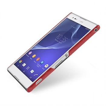 Кожаный чехол накладка серия Back Cover (нат. кожа) для Sony Xperia T2 Ultra красный
