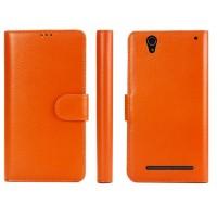 Кожаный чехол портмоне (нат. кожа) с магнитной застежкой для Sony Xperia T2 Ultra Оранжевый