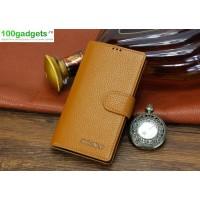 Кожаный чехол портмоне (нат. кожа) с магнитной застежкой для Sony Xperia T2 Ultra Бежевый