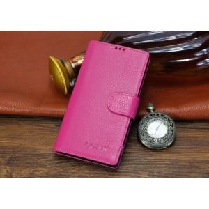 Кожаный чехол портмоне (нат. кожа) с магнитной застежкой для Sony Xperia T2 Ultra Розовый