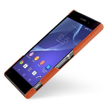 Кожаный чехол накладка серия Back Cover (нат. кожа) для Sony Xperia Z2 оранжевая