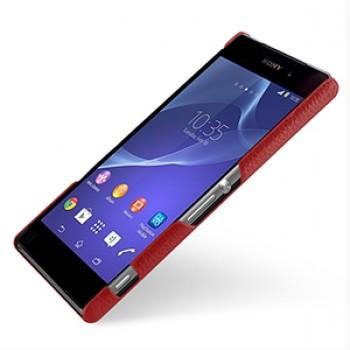 Кожаный чехол накладка серия Back Cover (нат. кожа) для Sony Xperia Z2 красная