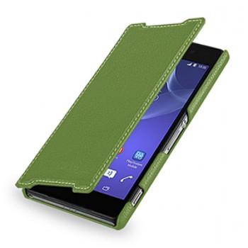 Кожаный чехол книжка горизонтальная (нат. кожа) для Sony Xperia Z2 зеленая