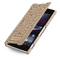 Эксклюзивный кожаный чехол книжка горизонтальная (винтажная нат. кожа) серия Maze для Sony Xperia Z2 бежевая