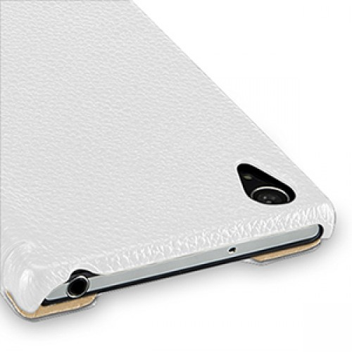 Кожаный чехол книжка горизонтальная (нат. кожа) для Sony Xperia Z2 белая