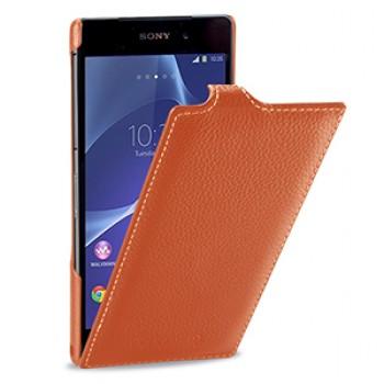 Кожаный чехол книжка вертикальная док-совместимая (нат. кожа) для Sony Xperia Z2 оранжевая