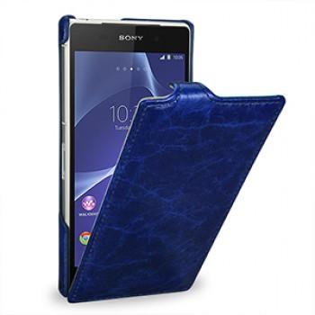 Эксклюзивный кожаный чехол вертикальная книжка (цельная телячья нат. кожа) для Sony Xperia Z2 голубая