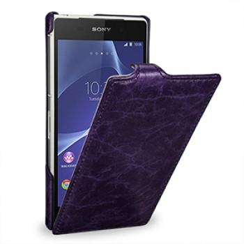 Эксклюзивный кожаный чехол вертикальная книжка (цельная телячья нат. кожа) для Sony Xperia Z2 фиолетовая