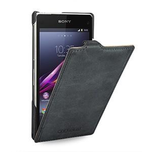 Эксклюзивный кожаный чехол вертикальная книжка (винтажная нат. кожа) для Sony Xperia Z2 серая