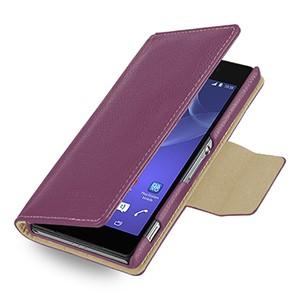 Эксклюзивный кожаный чехол портмоне подставка (нат. кожа) для Sony Xperia Z2 фиолетовая