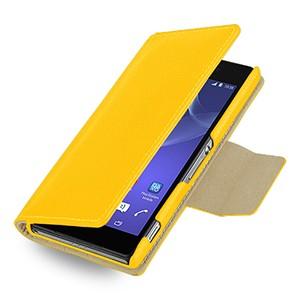 Эксклюзивный кожаный чехол портмоне подставка (нат. кожа) для Sony Xperia Z2 желтая