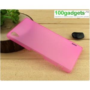 Пластиковый полупрозрачный чехол для Sony Xperia Z2 Розовый