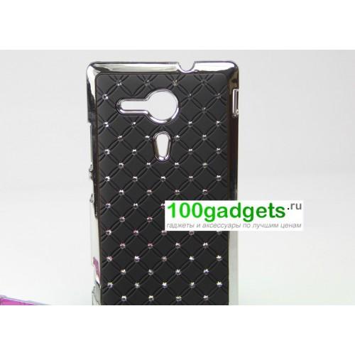 Чехол пластик/металл со стразами для Sony Xperia SP Черный