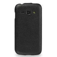 Кожаный чехол книжка вертикальная (нат. кожа) для Samsung Galaxy Ace 3 Черный