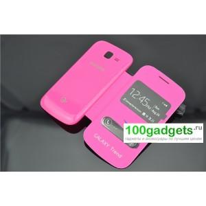 Чехол флип ультратонкий с окном вызова и свайпом для Samsung Galaxy Trend 2 II Duos Пурпурный