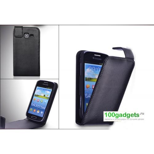 Кожаный чехол книжка для Samsung Galaxy Trend 2 II Duos Черный