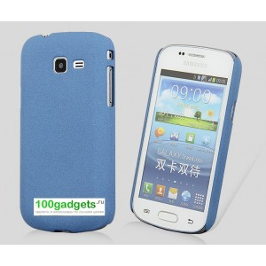 Пластиковый матовый чехол для Samsung Galaxy Trend 2 II Duos Синий