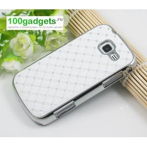 Чехол пластик/металл со стразами для Samsung Galaxy Trend 2 II Duos Белый