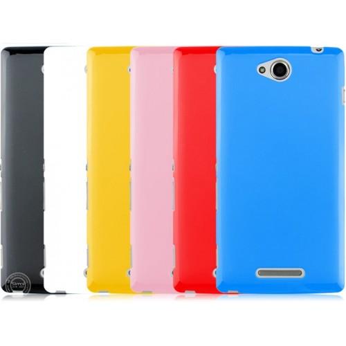 Силиконовый непрозрачный чехол для Sony Xperia C Голубой