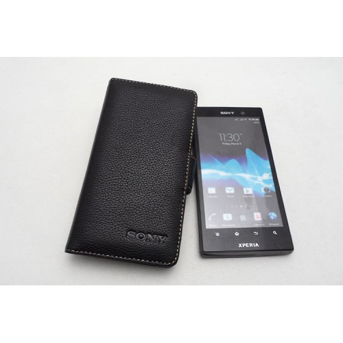 Чехол кожаный книжка горизонтальная (нат. кожа) для Sony Xperia ion Черный