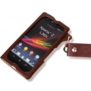 Кожаный чехол бампер подвеска для Sony Xperia Z1