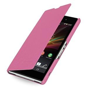 Кожаный чехол горизонтальная книжка (нат. кожа) для Sony Xperia Z1 Розовый