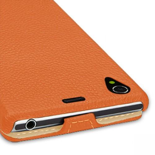Кожаный чехол вертикальная книжка (нат. кожа) для Sony Xperia Z1