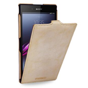 Кожаный эксклюзивный чехол ручной работы (винтажная кожа) для Sony Xperia Z Ultra бежевый