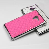 Чехол пластик/металл со стразами для Sony Xperia ZL Розовый