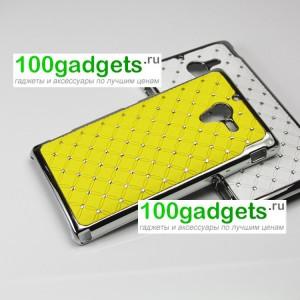 Чехол пластик/металл со стразами для Sony Xperia ZL Желтый