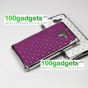 Чехол пластик/металл со стразами для Sony Xperia ZL Фиолетовый