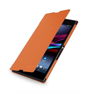 Кожаный чехол книжка горизонтальная (нат. кожа) для Sony Xperia Z Ultra оранжевая