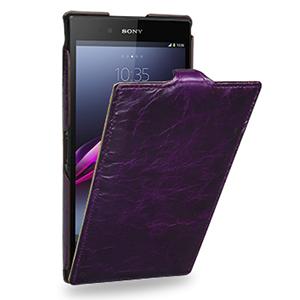 Кожаный эксклюзивный чехол ручной работы (цельная телячья кожа) для Sony Xperia Z Ultra фиолетовый