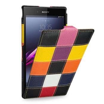 Эксклюзивный кожаный чехол книжка вертикальная (нат. кожа) серия Pieces для Sony Xperia Z Ultra