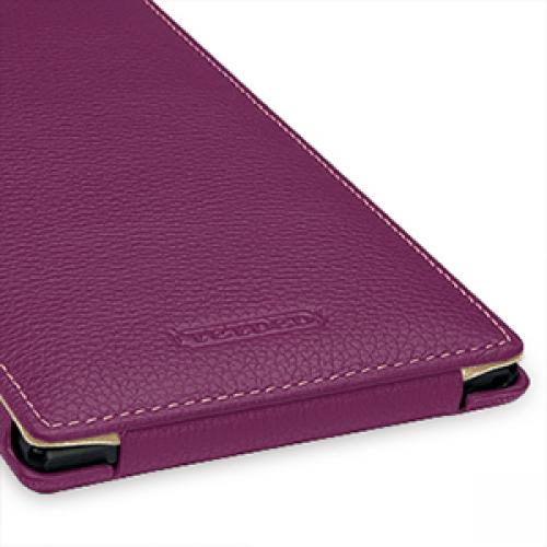 Кожаный чехол книжка вертикальная (нат. кожа) для Sony Xperia Z Ultra фиолетовая