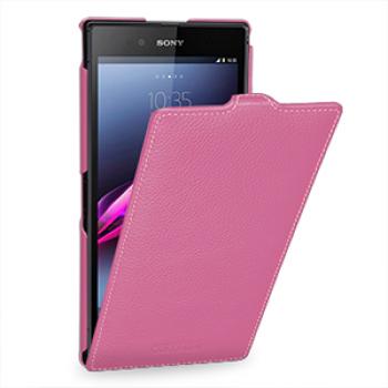 Кожаный чехол книжка вертикальная (нат. кожа) для Sony Xperia Z Ultra розовая