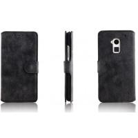 Винтажный чехол-портмоне подставка для HTC One Max Черный