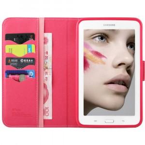 Чехол подставка с внутренними отсеками на силиконовой основе для Samsung Galaxy Tab 3 Lite