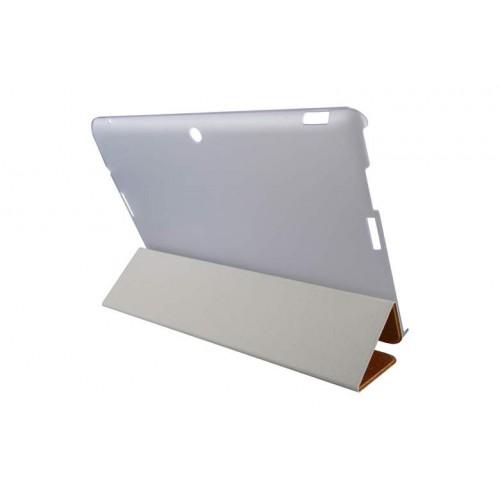 Текстурный чехол флип подставка сегментарный на пластиковой полупрозрачной основе для ASUS Transformer Pad TF103CG