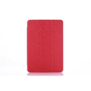Текстурный чехол флип подставка сегментарный на пластиковой полупрозрачной основе для Lenovo Miix 3 8 Красный