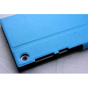 Чехол флип подставка с окном вызова и магнитной защелкой для ASUS MeMO Pad 7 (ME572CL) Голубой