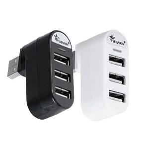 Роторный 180 град хаб на 3 USB 2.0 разъема 5V 0.5A Черный