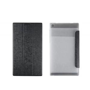 Текстурный чехол флип подставка сегментарный на пластиковой полупрозрачной основе для Lenovo Tab 2 A7-30 Черный