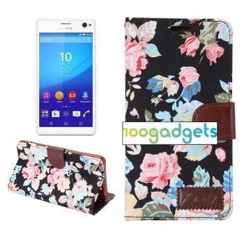 Дизайнерский текстурный чехол портмоне подставка с защелкой для Sony Xperia C4