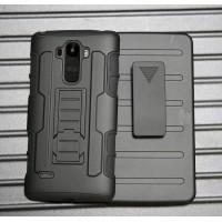 Антиударный силиконовый чехол с поликарбонатной крышкой и ножкой-подставкой для LG G4 Stylus Черный